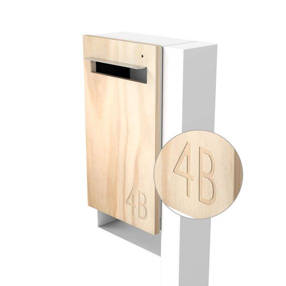 Modern custom mailbox javi post mounted letterbox white body timber front