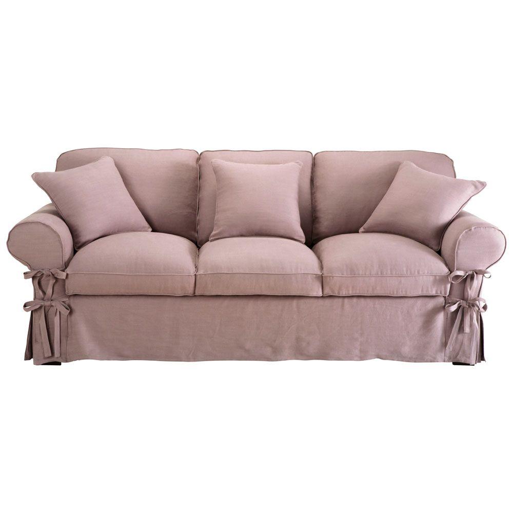 Canapé Places En Lin Mauve Butterfly Style Romantique - Canapé 3 places pour renover chambre a coucher maison