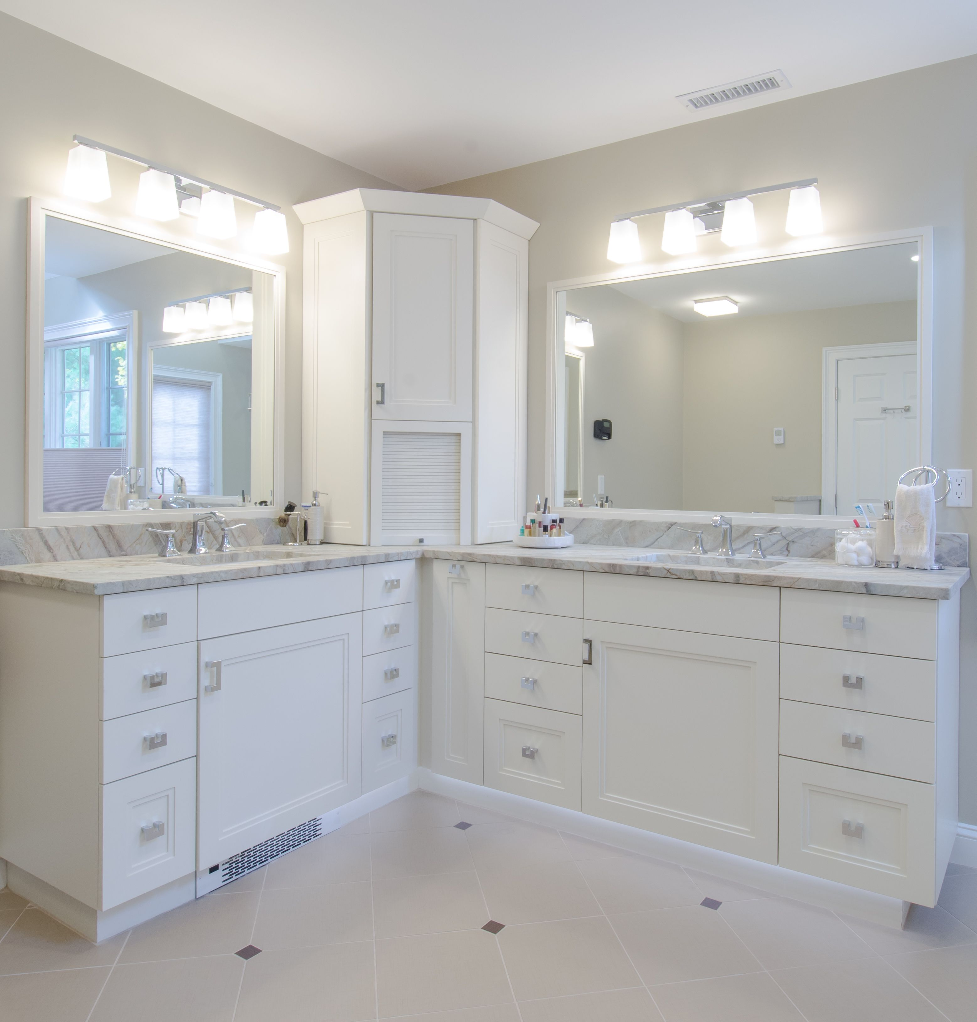 White Bathroom Corner Vanity With His And Her Sinks Lots Of Drawer Storage Appliance Garage