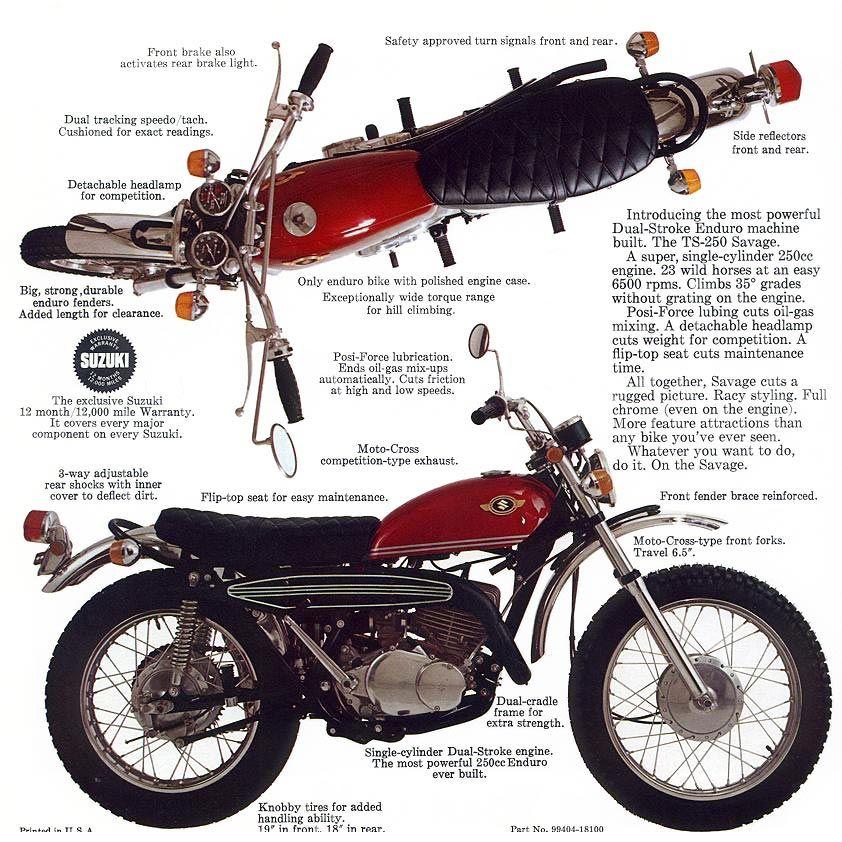 1969 Suzuki TS250 Savage | nice bikes | Motorcycle, Vintage