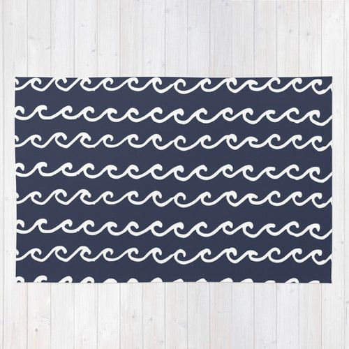 Nautical Navy Blue Area Rug Ocean Waves Modern Rug 2x3