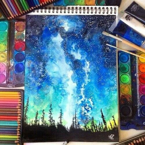Step By Step Process Photos Of A Watercolor Moon Doodle Painting