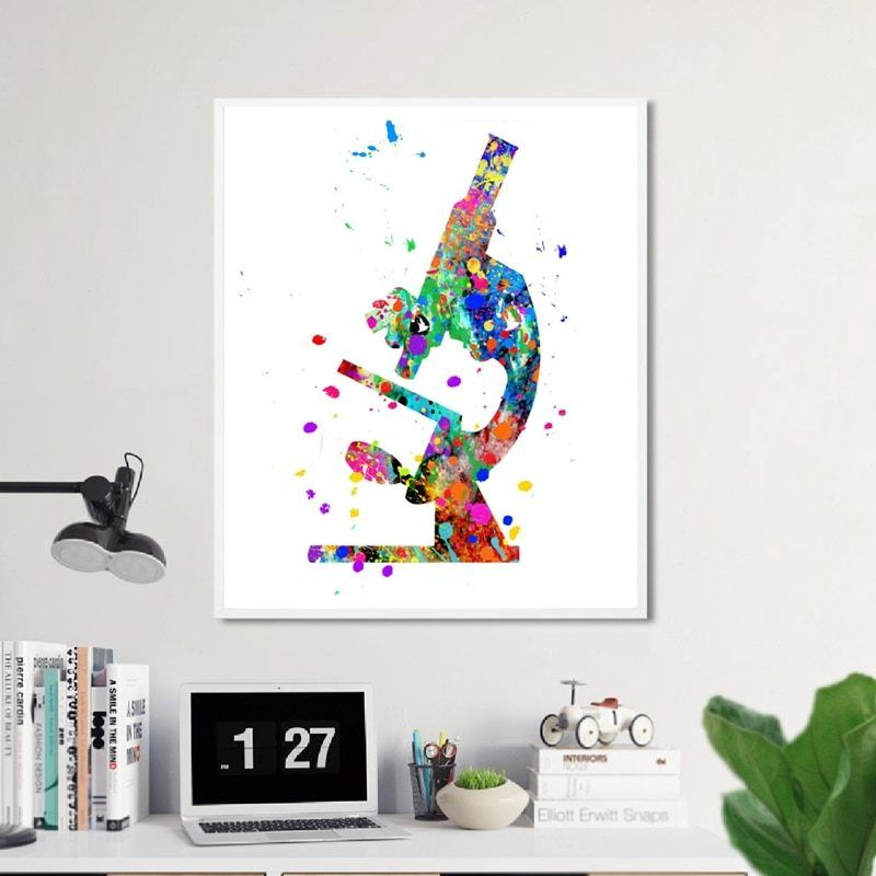 Microscope Watercolor Art Canvas Painting Prints Picture Scientist Gifts Micro Biology Microscope Poster Office Wall Art Decor Wall Canvas Painting Office Wall Art Canvas Art Wall Decor