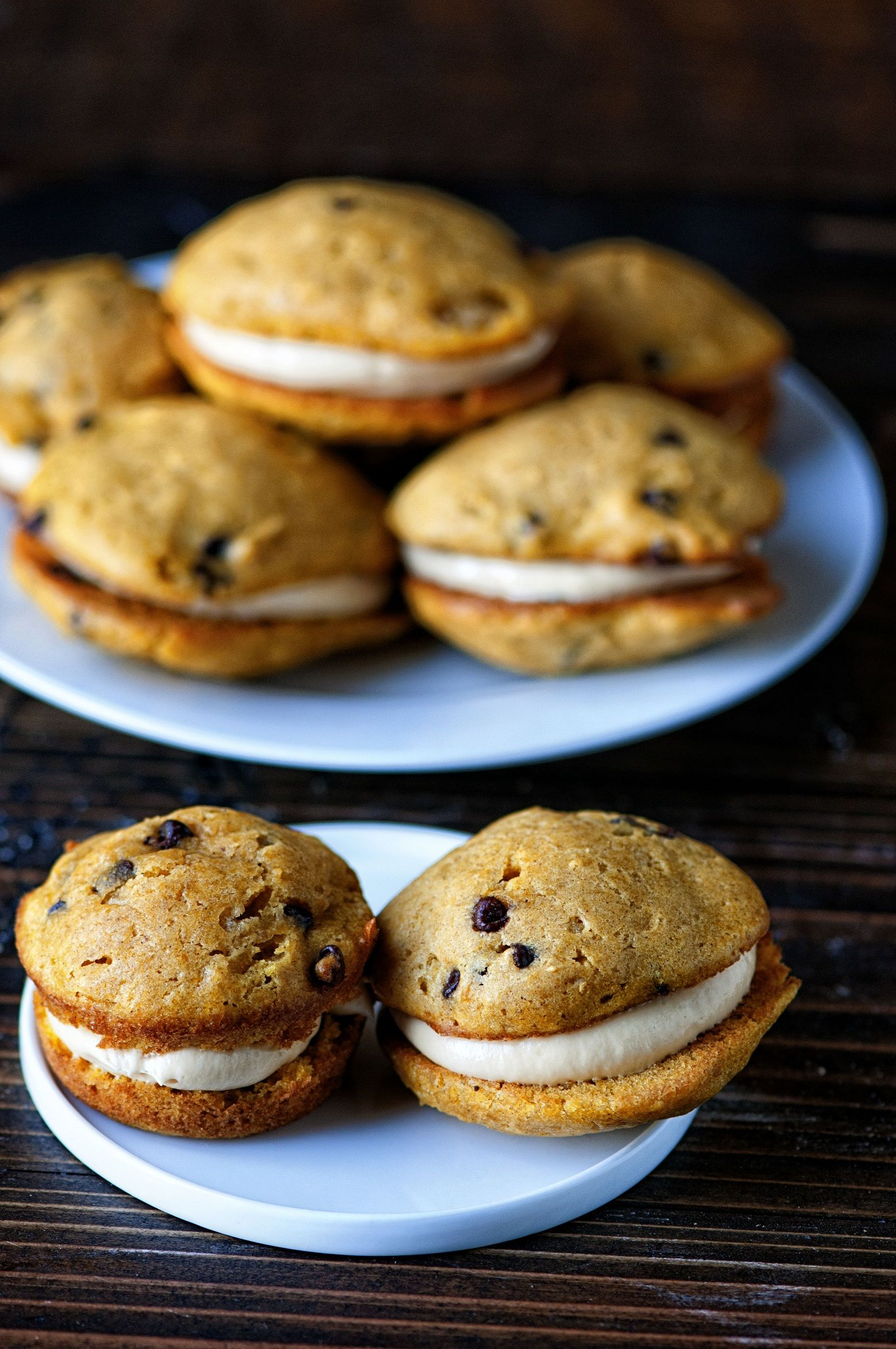 Pumpkin Chocolate Chip Whoopie Pies with Butterscotch Creme