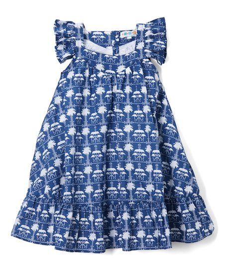 Lend twirl-ready appeal to your little one's ensemble with this dress boasting a beach-inspired print and ruffled sleeves for oh-so-adorable appeal. Shipping note: This item is made to order. Allow extra time for your special find to ship.