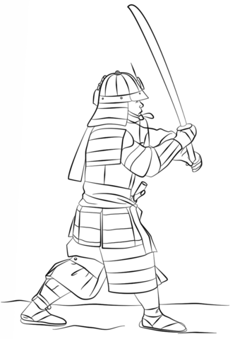 Armored Samurai with Sword Coloring page | Japon | Japon