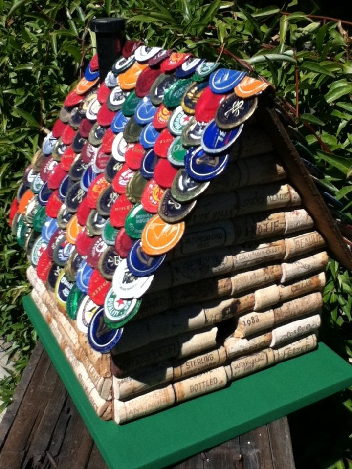 wine cork and beer bottle cap house for the birds