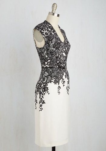 As expertly as an actress plays her role, you take on the character of teacher in this black and ivory shift dress. A lesson in sophistication from Adrianna Papell, this belted number communicates grace in the lace-like pattern that hugs its dipping neckline, while you guide with matching decorum!