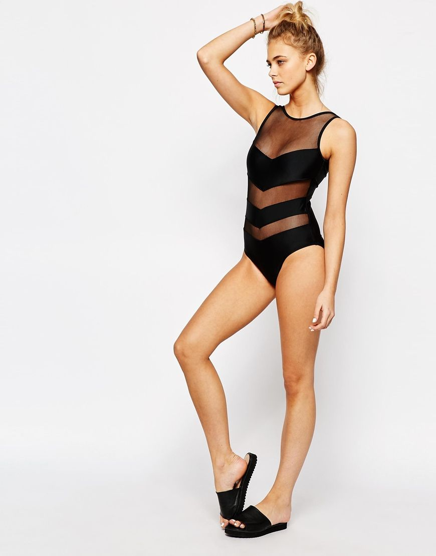 e48fecb4467 Image 4 of Boohoo Chevron Paneled Swimsuit