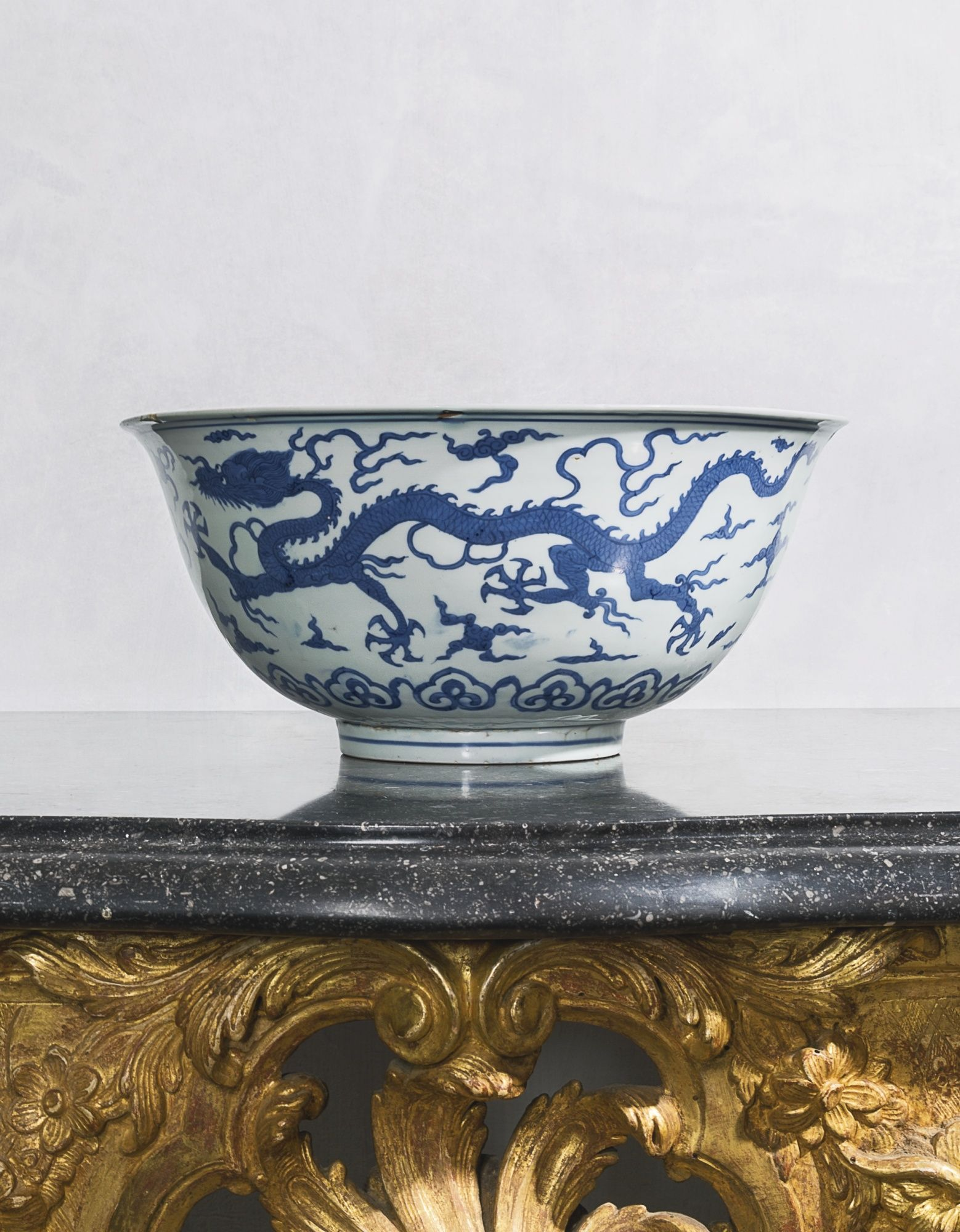 A Large Chinese Blue And White Dragon Bowl Jiajing Mark And Period 37 Cm No Pin Limits More Pins Like This One At Fosterg Dragon Bowl Bowl Blue And White