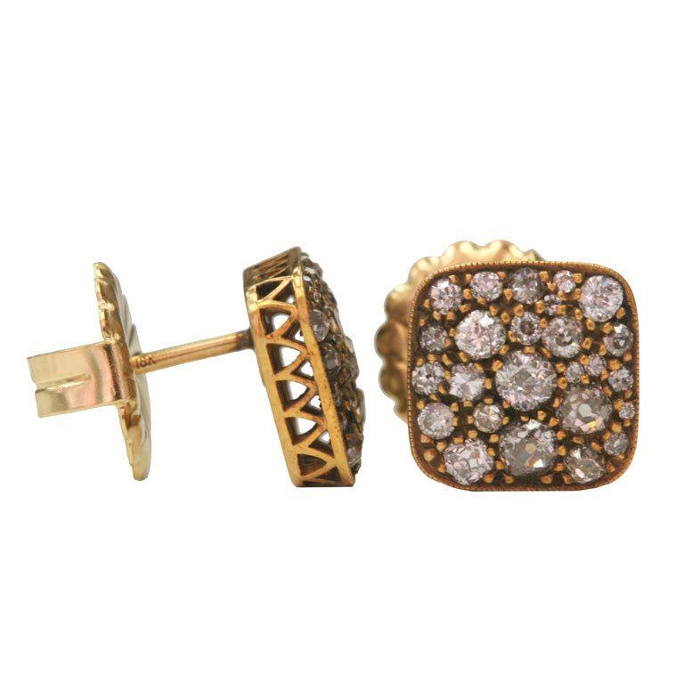 Cobblestone Earrings   From a unique collection of vintage stud earrings at http://www.1stdibs.com/jewelry/earrings/stud-earrings/