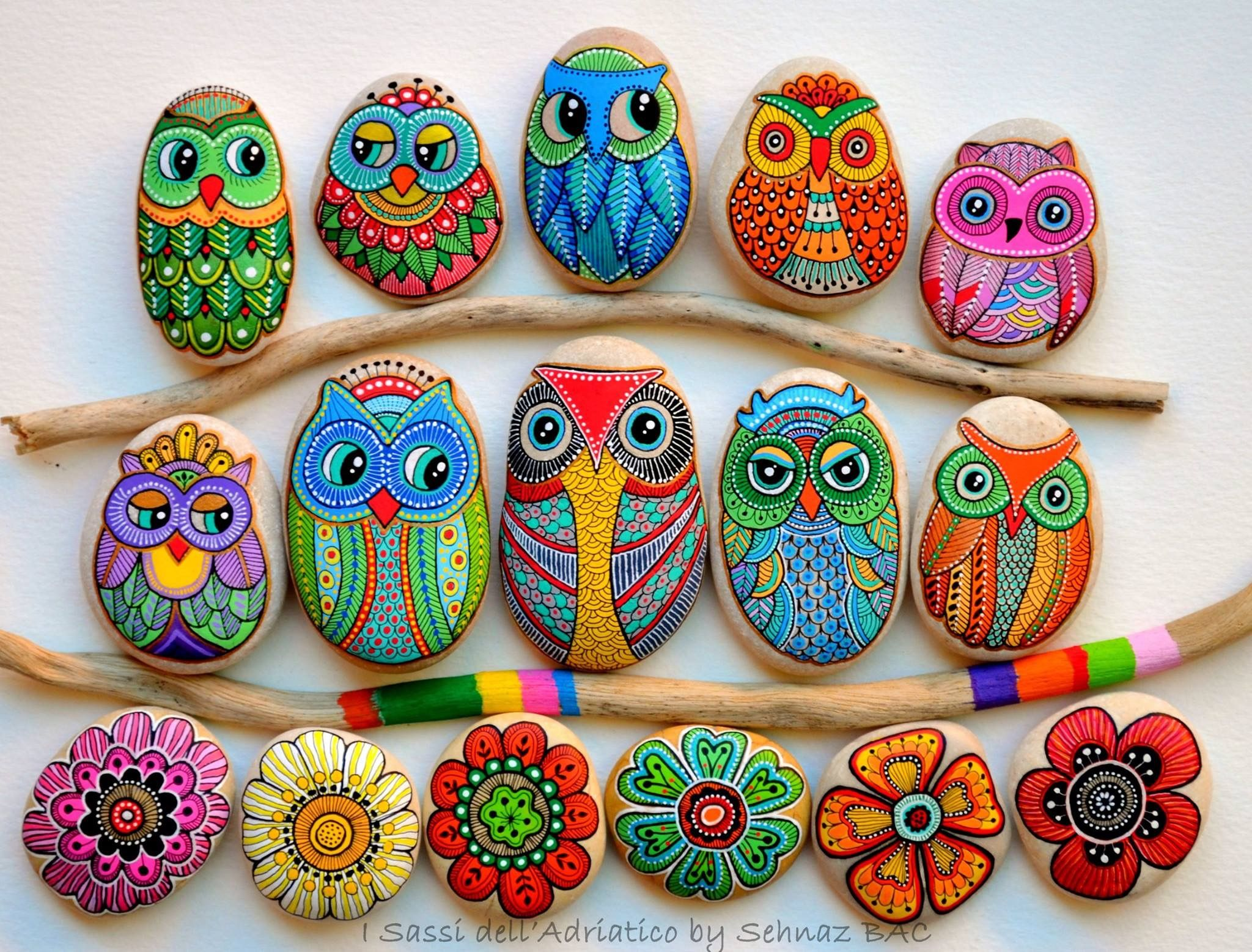 Cute owls n flowers rock painting craft. Vibrant colors ...