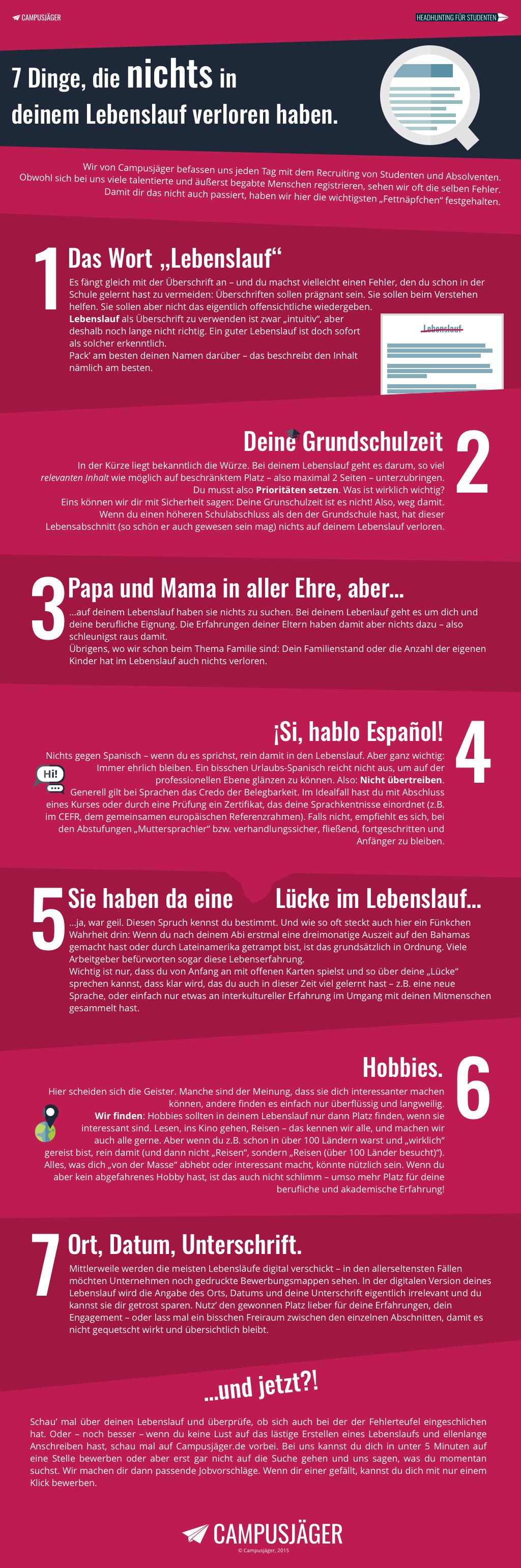 Infografik: Diese 7 Fehler solltest du in deinem Lebenslauf ...