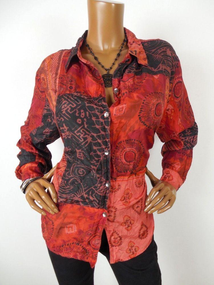 fbae84b140de21 CHICO S Sz 3 Womens Top L XL 100% SILK Shirt Button Down Print Long Sleeves  Fall  Chicos  Blouse  Casual