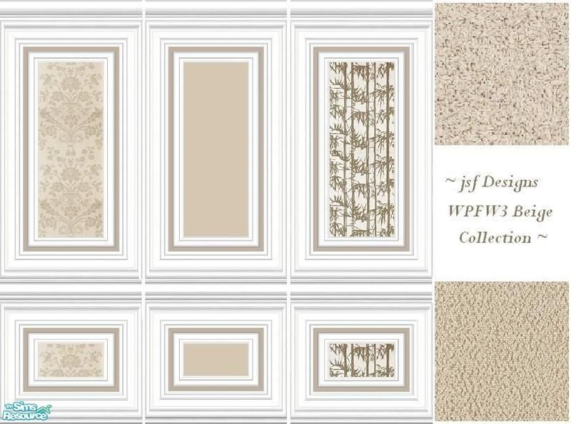 Three, white, panels with beige paint and wallpapers in