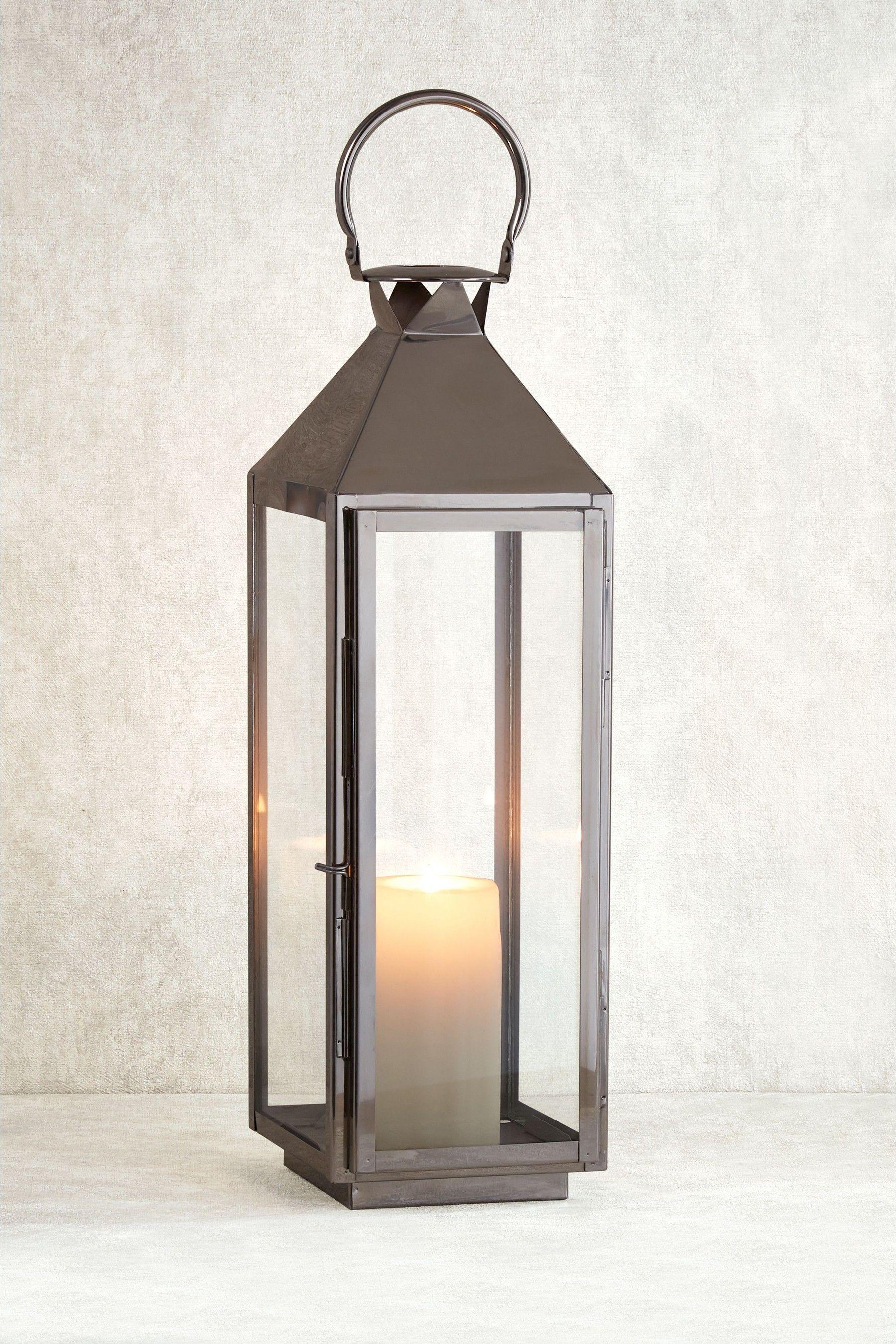Next Large Chrome Lantern Silver Metal Lanterns Candle