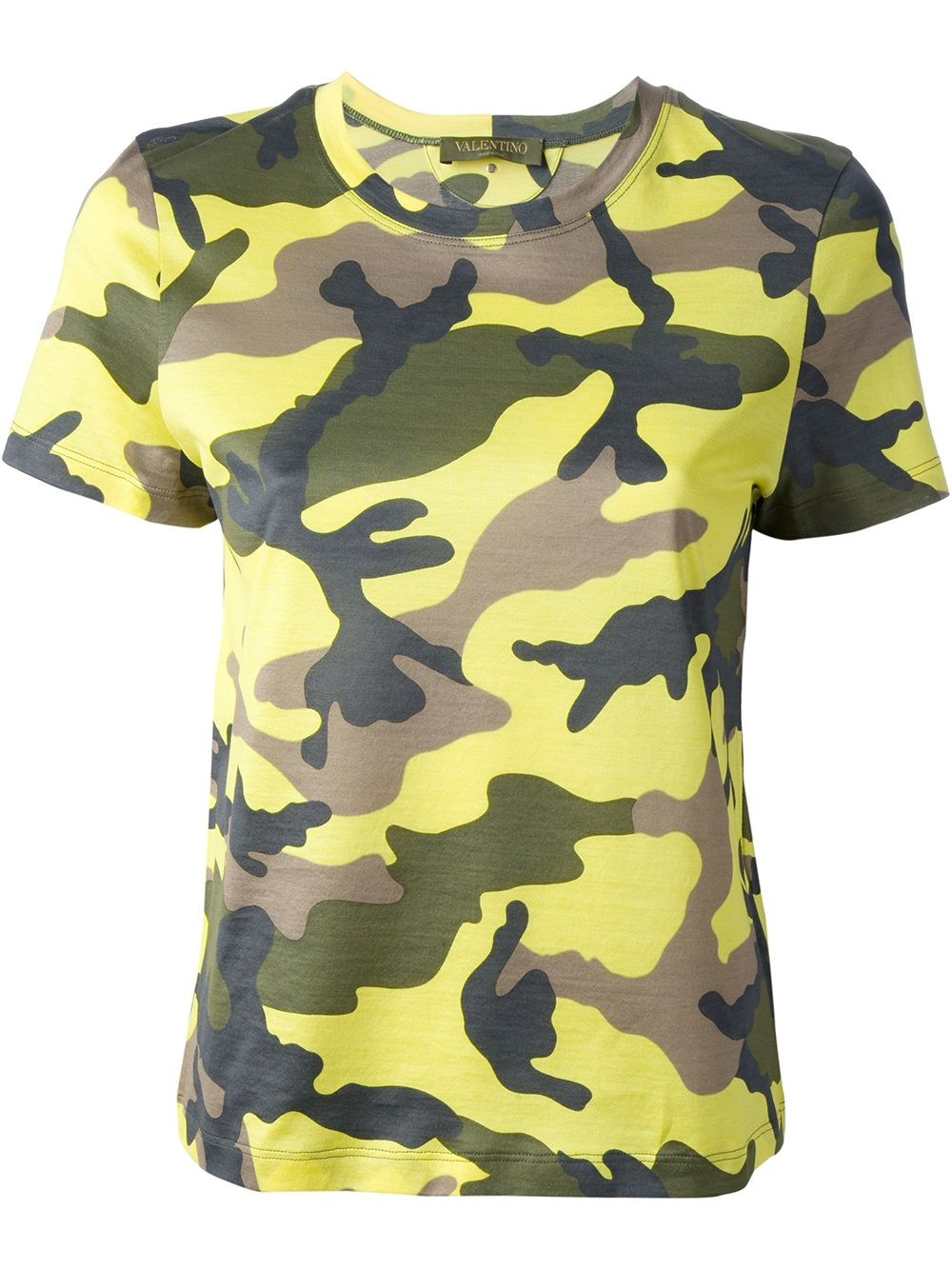 e989d066 Yellow cotton t-shirt from Valentino featuring a round neck, short sleeves,  a green camouflage print, a regular length and a straight hem.