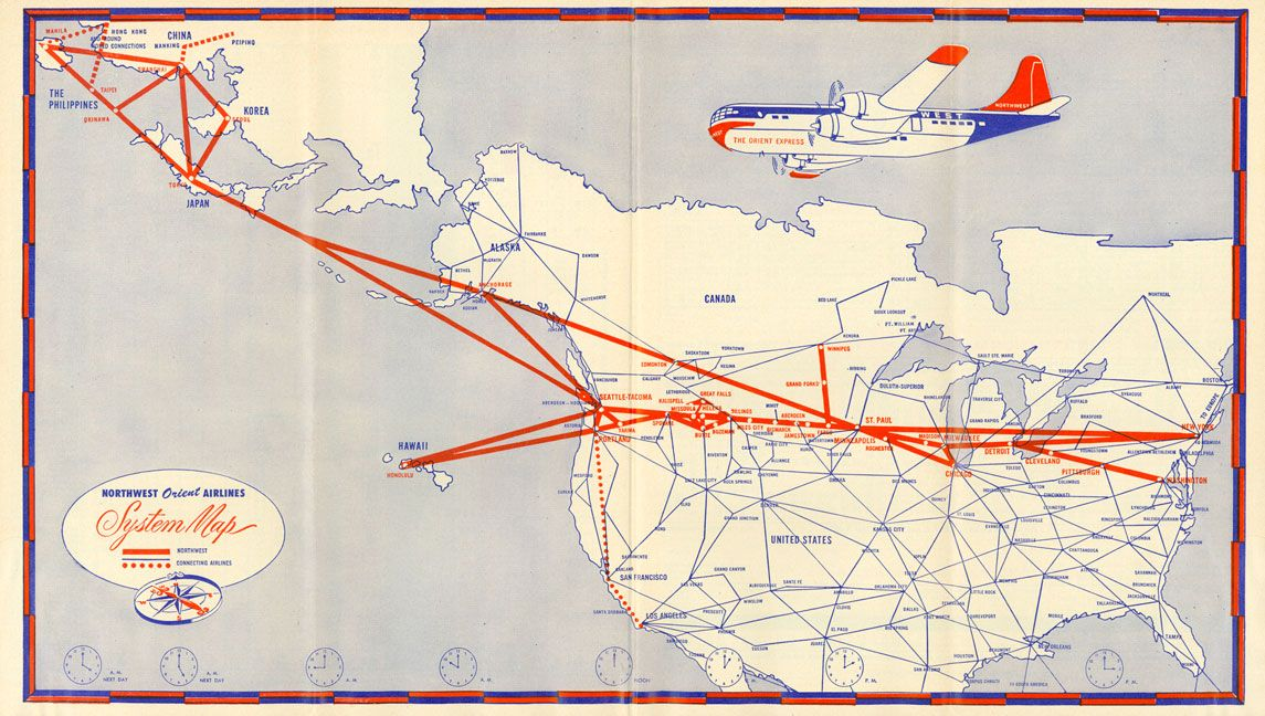 Northwest Orient Airlines Routemap Airline Advertising