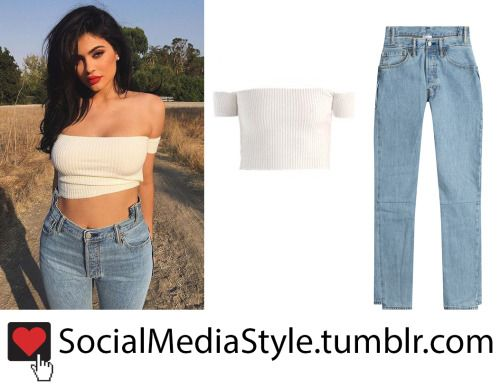 Buy Kylie Jenner's White Off-The-Shoulder Crop Top and High ...