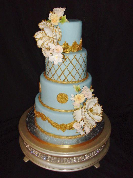 Light Blue And Gold Elegant Cake Wedding Cake Blue Gold