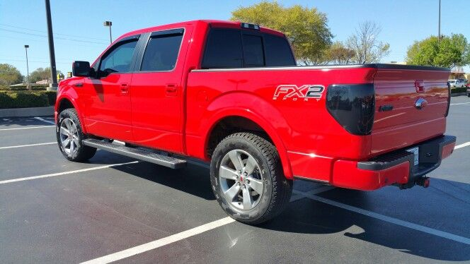 My 2012 Ford F150 Fx2 Race Red Leveled On 33 U0026quot  Tires
