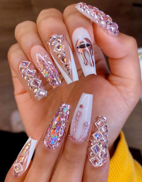Super Cute Trendy Nail Art Ideas For 2020 Girls In 2020 With Images Rihanna Nails Best Acrylic Nails Bling Acrylic Nails