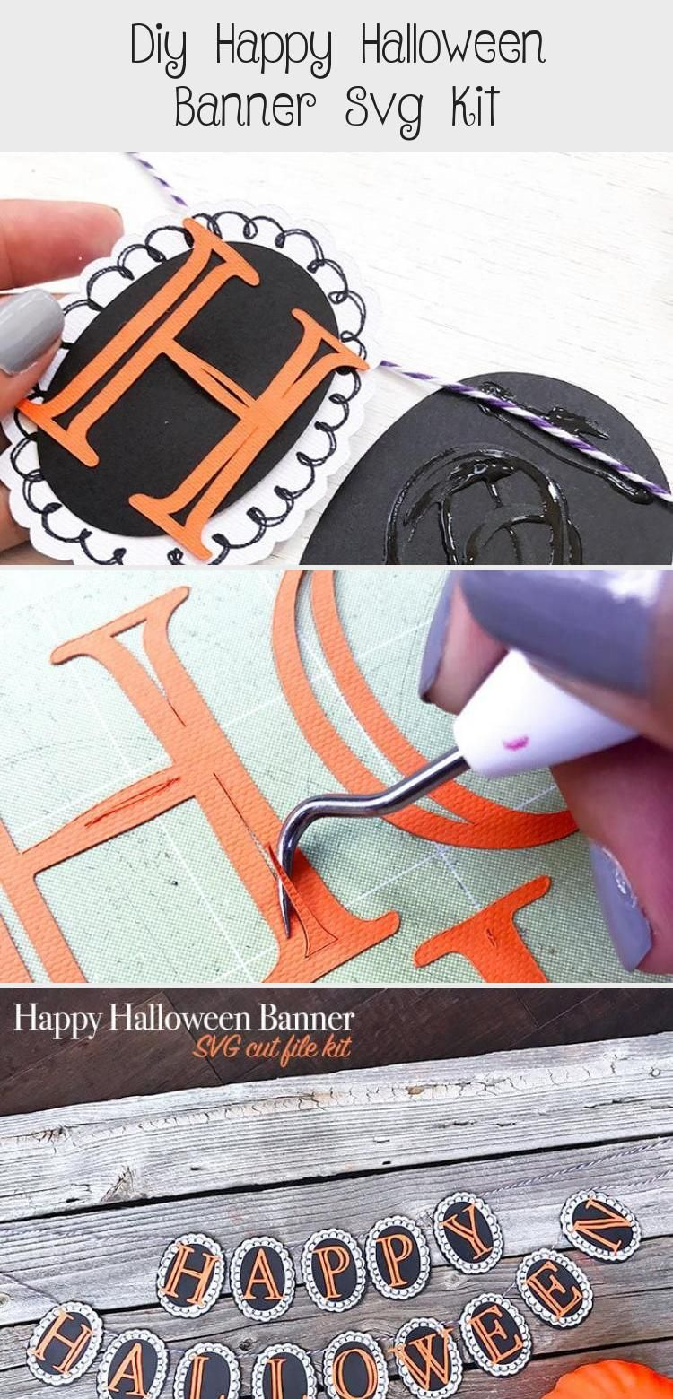 DIY Happy Halloween Banner SVG Kit - 100 Directions #bannerIllustration #bannerAesthetic #Paperbanner #bannerYoutube #Wallbanner #happyhalloweenschriftzug