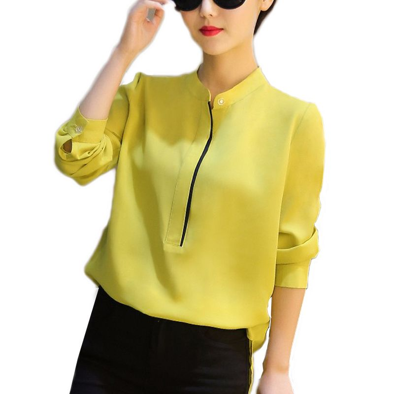 f42c3680 2017 Spring Fashion Chiffon Long Sleeves Women Formal Blouses Office work  Blusas Slim Shirts Ladies Simple