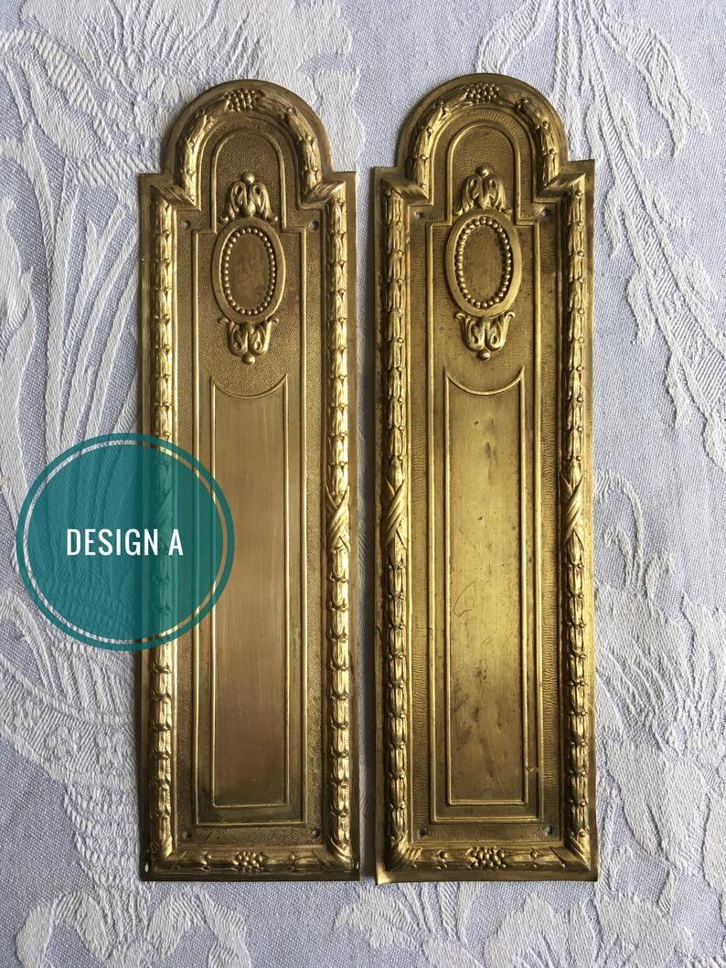 Antique Brass Finger Plate Push Door Handle Vintage Drapes Wreath