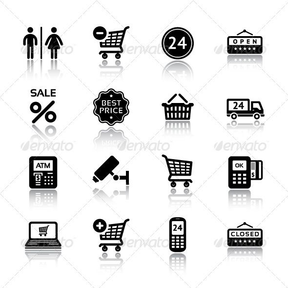 Set Pictograms Supermarket Services Shopping Icon Shop Icon Pictogram Credit Card Icon