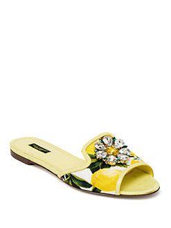 3d8eb2e40798b Dolce   Gabbana - Jeweled Lemon Slide Sandals