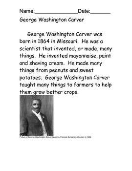 George Washington Carver Reading Comprehension Free Essay
