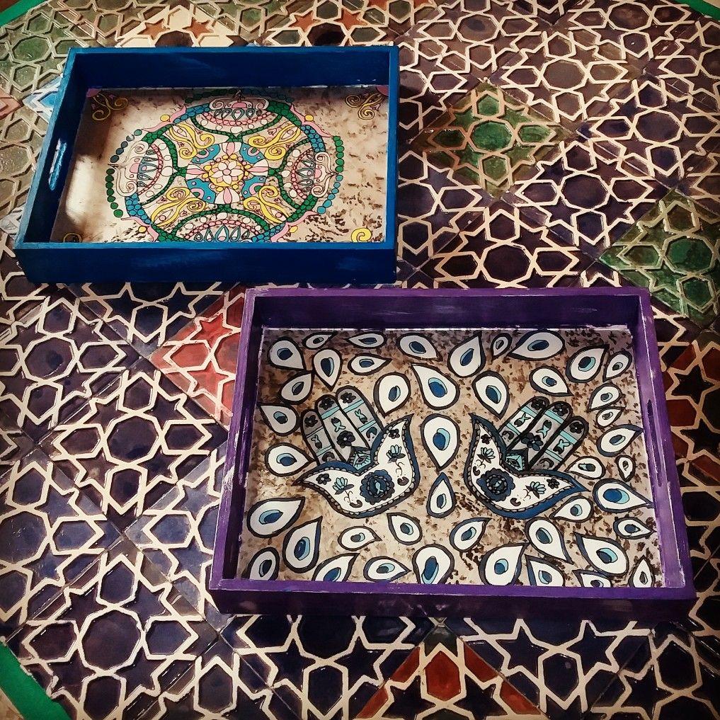 صوانى خشب مرسومه على الزجاج Decorative Boxes Decorative Tray Decor