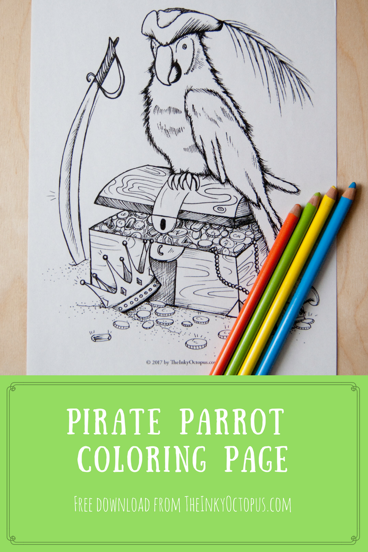 Pirate Parrot Coloring Page* This pirate parrot guards his treasure ...