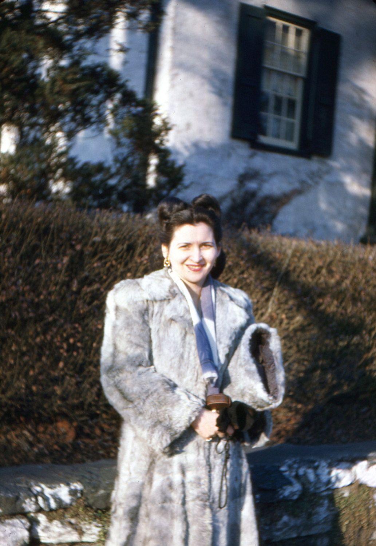 "Vintage Red Border Kodachrome Slide ""The Gray Fur Coat"