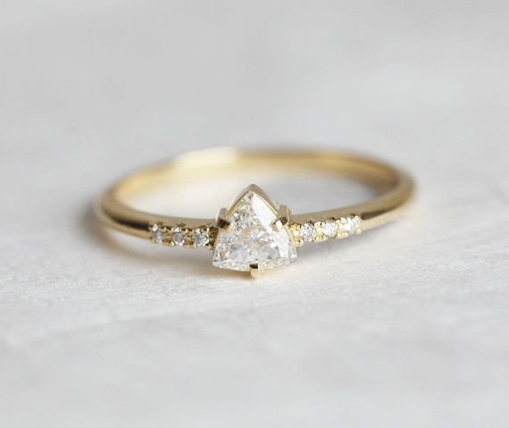Yellow Gold Trillion Diamond Ring, Delicate Trillion Cut Diamond Engagement Ring with thin delicate band