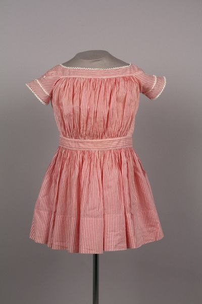 6f50cea0a50c 1850s-60s candy stripe child s dress