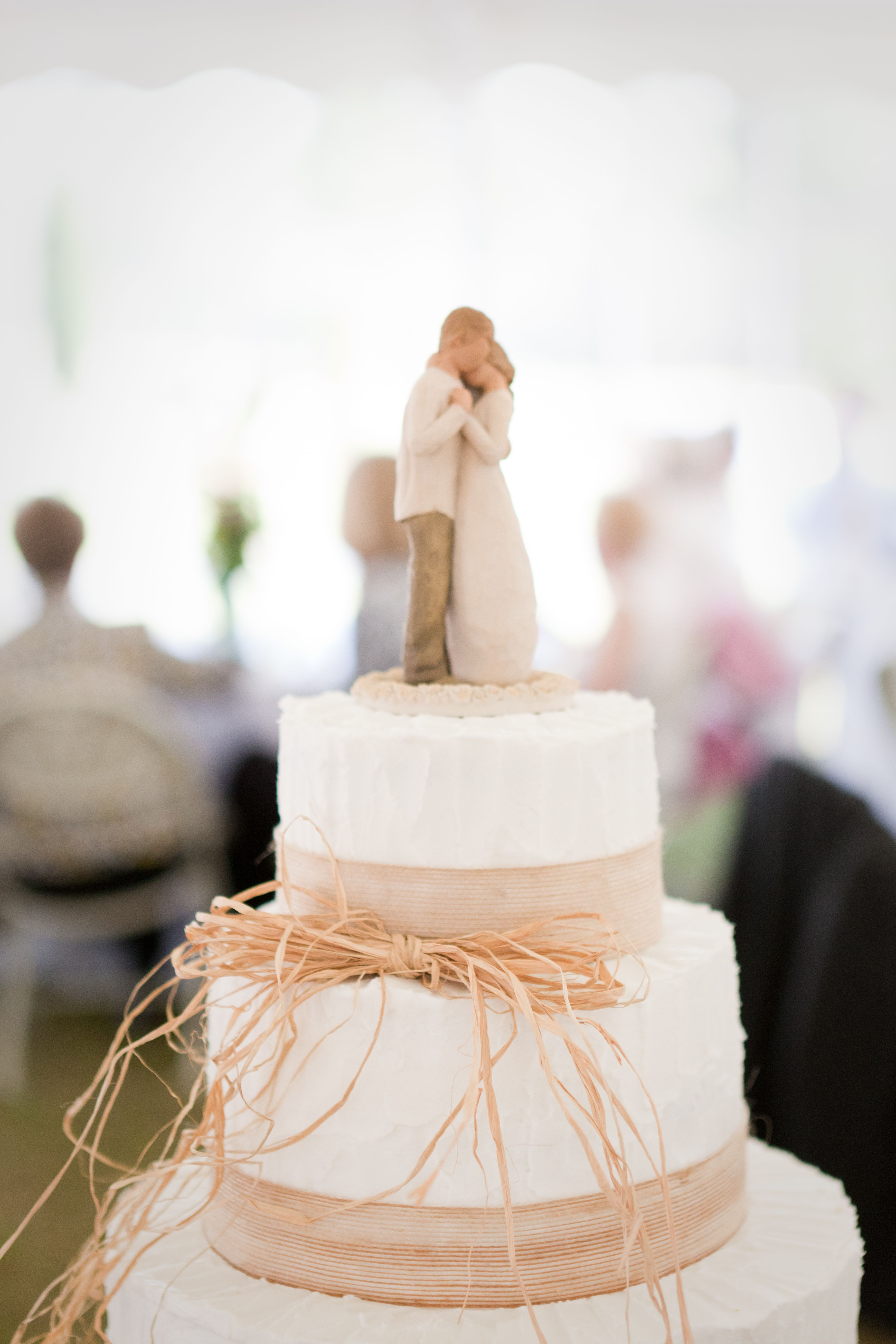 Simple Wedding Cake...LOVE The Willow Tree Figurine As The Cake Topper.