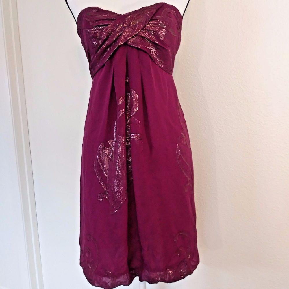 Nicole Miller Dress Size 2 Purple Silk Blend Strapless Shimmer ...