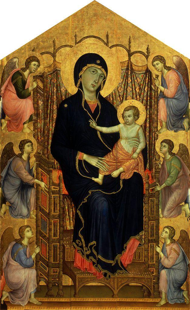 Duccio di Buoninsegna (1255/1260-1319) — Maestà, Rucellai Madonna, 1285-1286   :  The Uffizi Gallery,  Florence,  Italy  (627×1024)