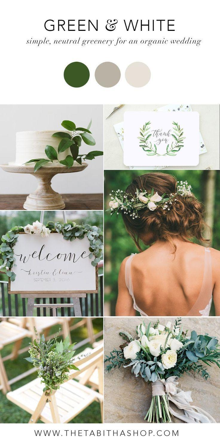 Grün & Weiß Farbinspiration für eine einfache, neutrale Hochzeit – Hoch …