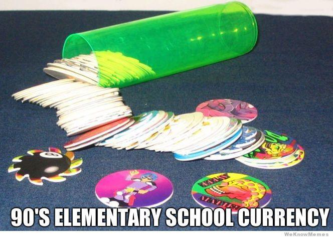 90's elementary school currency. Slammers/Pogs.