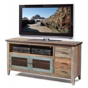 Solid Pine Rustic 62 Tv Stand In Multi Colored Finish