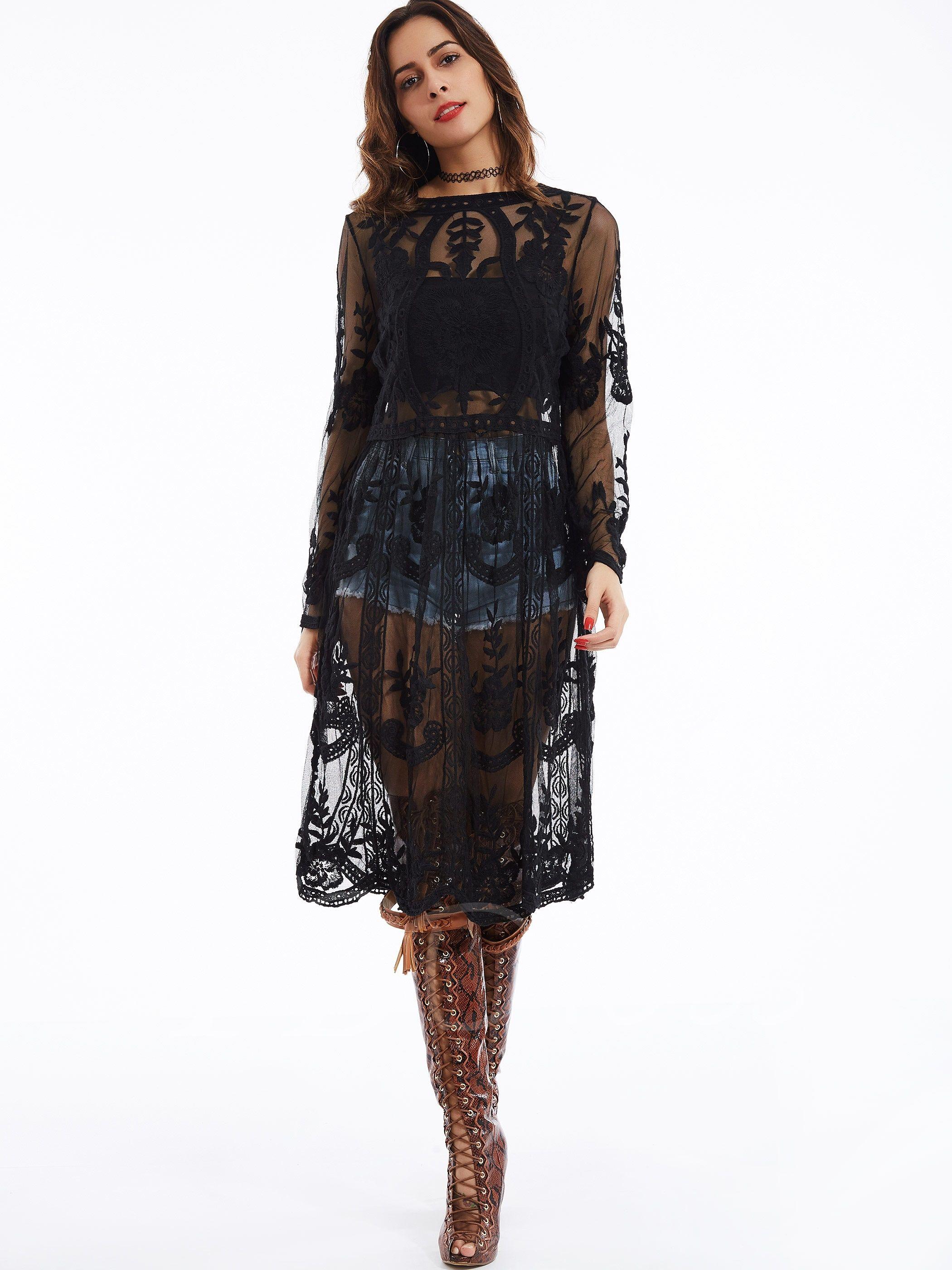 Black See Through Women S Lace Dress Women Lace Dress Lace Dress Dresses [ 2800 x 2100 Pixel ]