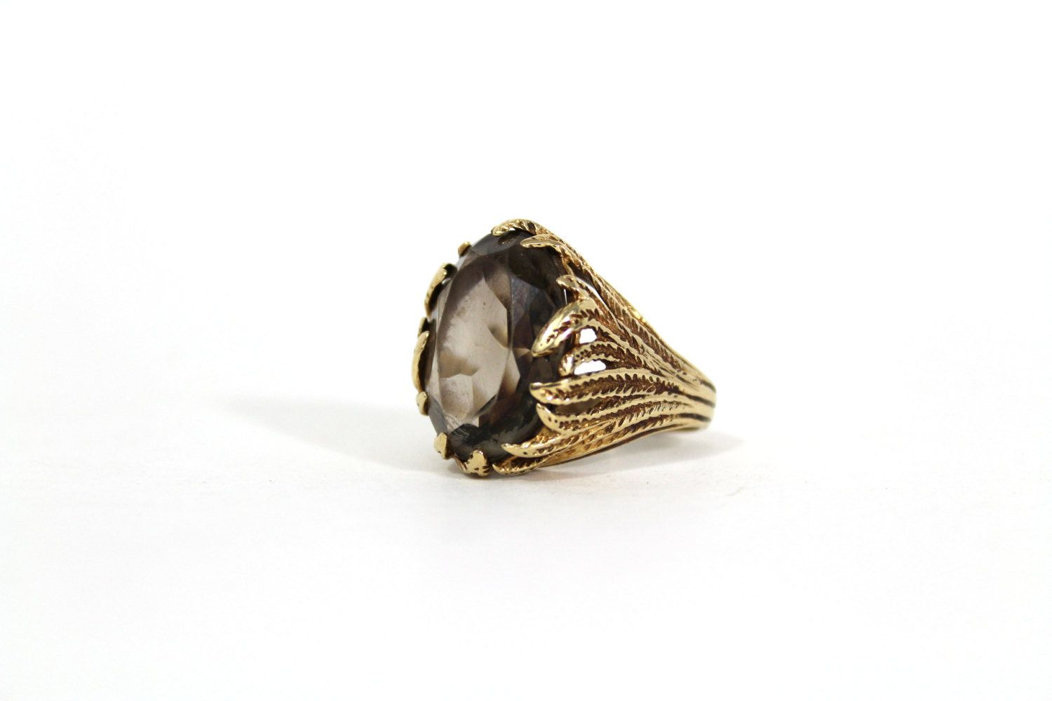 Vintage Feather Ring Smoky Quartz And 10 Karat Gold Size 6 5 In 2020 Boho Rings Feather Ring Smoky Quartz