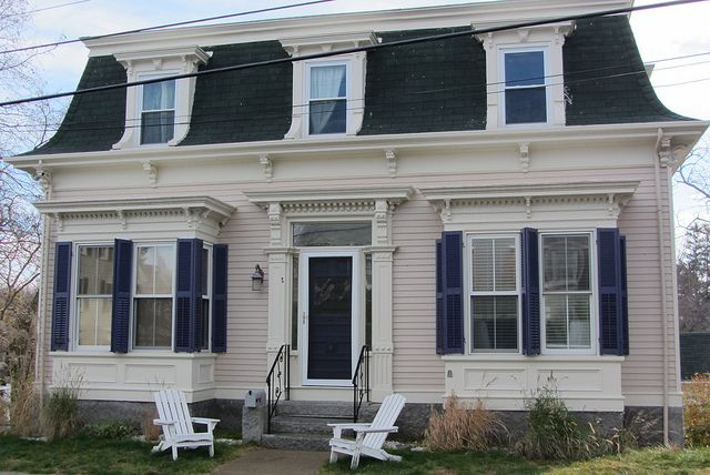 House With Mansard Roof And Purple Shutters Mansard Roof
