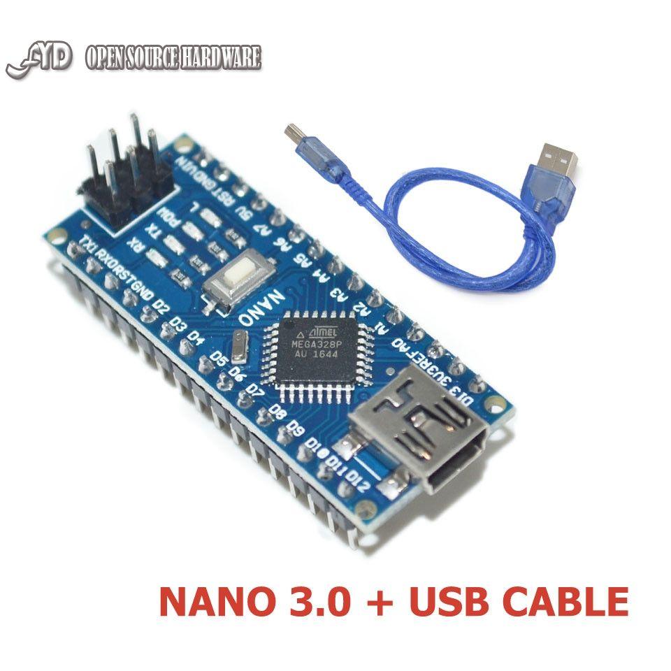 Nano V3.0 ATmega328 Micro-controller CH340 16M 5V Mini USB For Arduino+Cable
