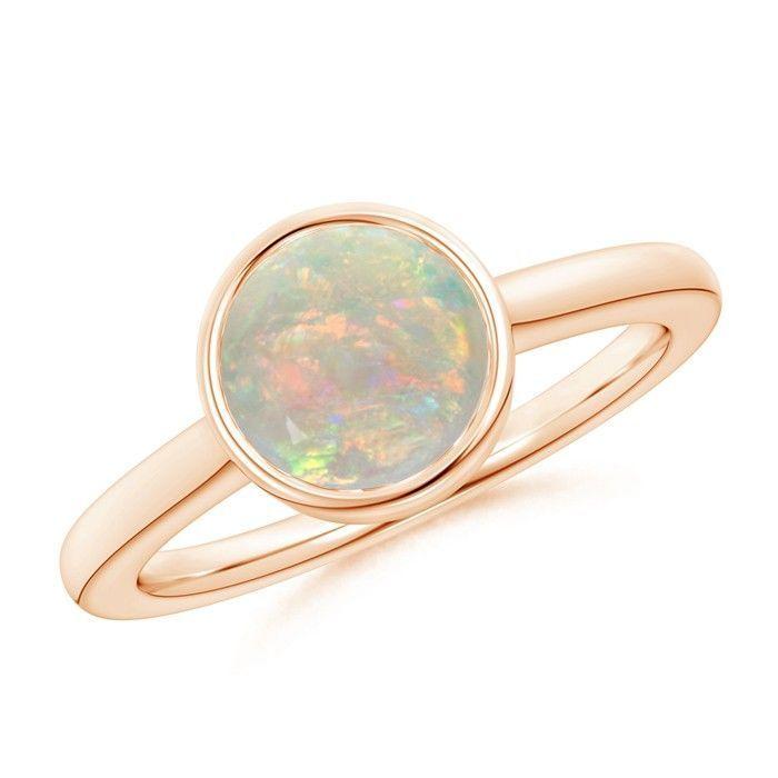 Angara Bezel-Set Opal Ring in Rose Gold - October Birthstone Ring ZvZ9WL