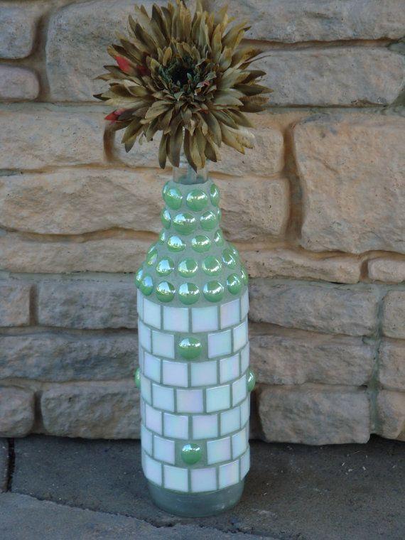 Mosaic Wine Bottle  White Mother of PearlLike by MosaicsbyMadonna, $40.00