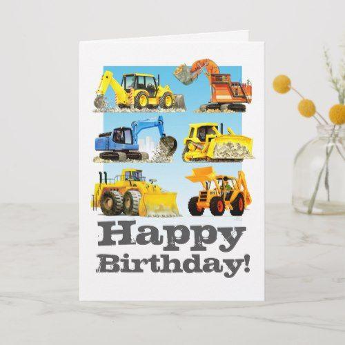 Kids Custom Yellow Digger Excavator Happy Birthday Card Zazzle Com Happy Birthday Cards Birthday Cards Birthday Gifts For Kids
